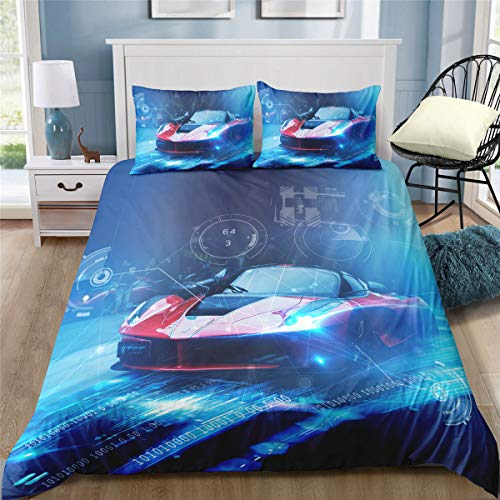 Helehome Car Bedding Kids Twin Size Race Car Duvet Cover Sets Racing Theme Comforter Cover Set with Zipper Ties for Teens Boys Girls Bedroom Decor 1 Duvet Cover 1 Pillowcase