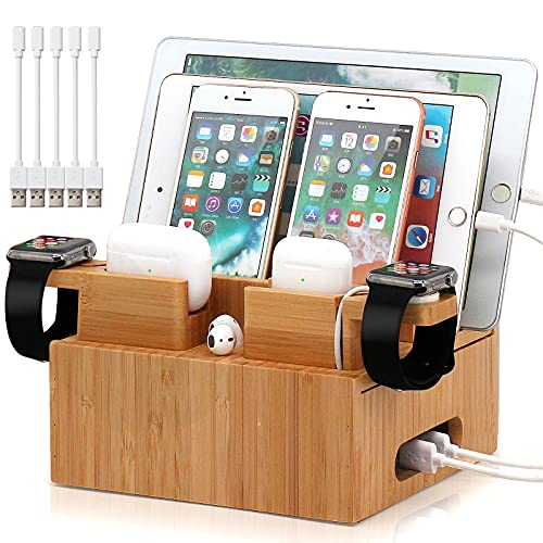 Bamboo Charging Station Organizer for Multiple Devices, Desktop Docking Station Compatible with iPhone, iPad, AirPods, iWatch, Android Phone (Included 2 Watch & AirPod Stand, 5 Cables,NO Charger HUB)