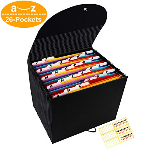 Accordian File Organizer,26 Pockets Expanding Filing Box Letter Size Expandable File Folder,Accordion Document Organizer,Portable Paper Paperwork Bag Bill Receipt Folders with A-Z Alphabet Blank Tabs