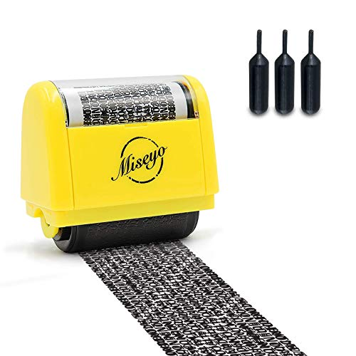 Miseyo Wide Identity Theft Protection Roller Stamp Set - Yellow (3 Refill Ink Included)