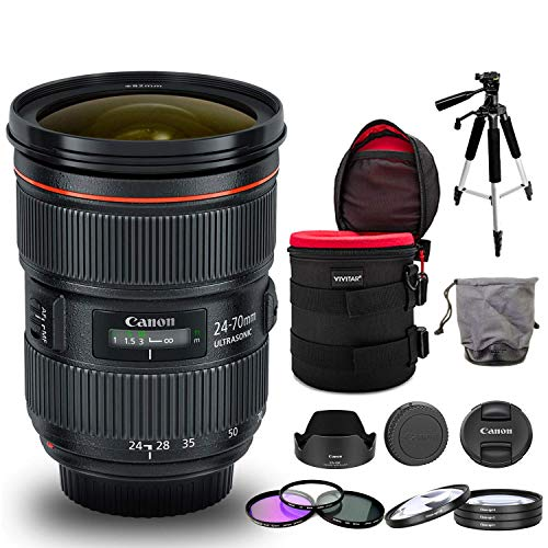 Canon EF 24-70mm f/2.8L II USM Lens Bundle with Cleaning Kit, Filter Kits, Padded Lens Case, and Tripod (Intl Model)