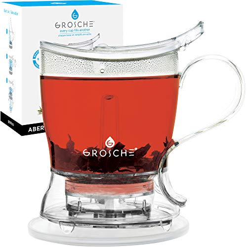 GROSCHE Aberdeen PERFECT TEA MAKER Tea pot with coaster, Tea Steeper, Easy Tea Infuser, 17.7 oz. 525 ml, EASY CLEAN Tea Steeper, BPA-Free teapot