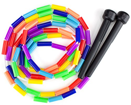 K-Roo Sports Rainbow Jump Rope with Plastic Beaded Segmentation, 7-Foot - Colorful, Nostalgic Kid Toy for Indoor/Outdoor Skipping Games & Exercise, Multi