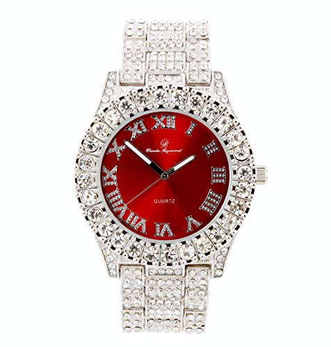 Mens Silver Big Rocks with Roman Numerals Fully Iced Out Spring Summer Colorful Dial Watch - ST10327 RN Single (Blood Red/Silver)