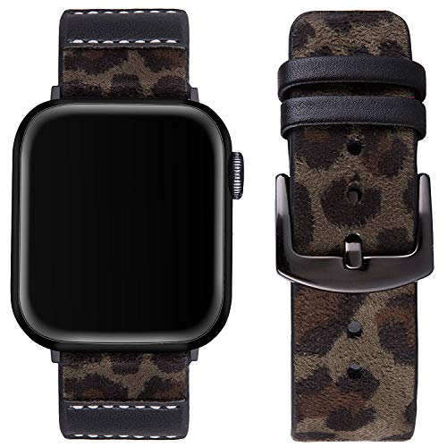 Vikoros Leopard Leather Band Compatible with Apple Watch 5 40mm Serie 4/3/2/1 38mm iwatch Sport Men Women, Dressy Jewelry Boho Bracelets Straps Wristbands Black Metal Clasp Girls