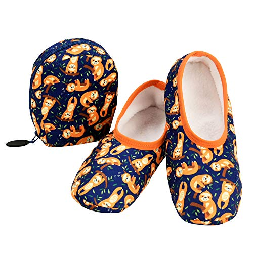 Snoozies Skinnies & Travel Pouch | Purse Slippers for Women | Travel Flats with Pouch | Womens Slippers On The Go | Sloth | Large