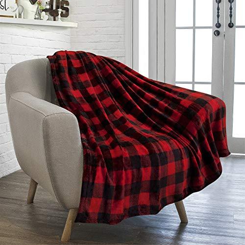PAVILIA Buffalo Plaid Throw Blanket for Sofa Couch | Soft Flannel Fleece Red Black Checker Plaid Pattern Decorative Throw | Warm Cozy Lightweight Microfiber | 50 x 60 Inches