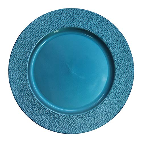 Turquoise Plastic Stone Edge Charger Plates - 12 pcs 13 Inch Round Wedding Party Decroation Charger Plates (Stone Turquoise, 12)