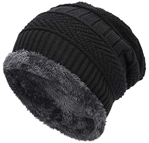EASTER BARTHE Black Winter Hat for Men Warm Winter Beanie Warm Fleece Lined Hat Baggy Oversized Slouchy Knit Beanie Skull Cap Ski Hat