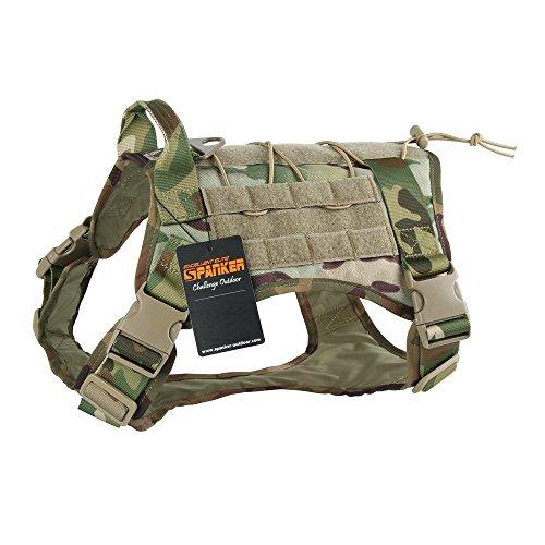 EXCELLENT ELITE SPANKER Tactical Dog Harness Military Dog Harness Working Dog Vest Molle Adjustable Training Vest Patrol K9 Harness Large with Handle(MCP-L)