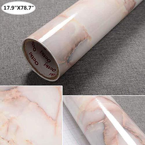 Yancorp 17.9'x78.7' Yellow Red Marble Paper Removable Wallpaper Film Self-Adhesive Granite Kitchen Peel Stick Backsplash Marble Tile Countertop Furniture