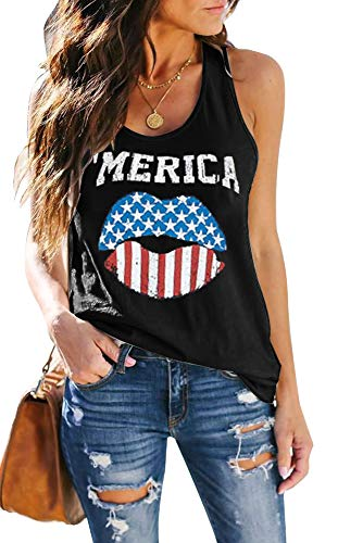 ETCYY Women's Red Lips American Flag Print Tank Tops Loose Fit Sunmmer Sleeveless T Shirts