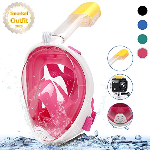 MOUNTDOG Snorkel Mask Full Face Snorkeling Mask with Panoramic View and Action Camera Mount,Anti-Fog and Anti-Leak Design Dive Mask for Adults and Youth (Pink, S/M)