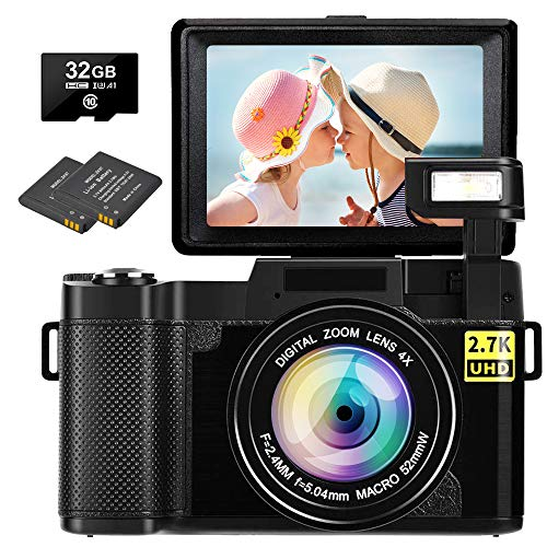 Digital Camera Vlogging Camera 2.7K 30MP Ultra HD Camera Compact Camera 4X Digital Zoom Retractable Flashlight Video Camera with 3.0 Inch Flip Screen with 32GB Micro SD Card and 2 Batteries