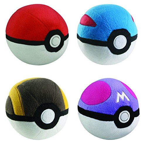 Poke Ball Collection 4pc Complete Plush Set - PokeBall GreatBall UltraBall MasterBall 5 inch Plush