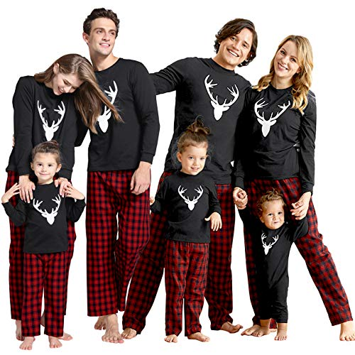 IFFEI Matching Family Pajamas Sets Christmas PJ's with Deer Long Sleeve Tee and Plaid Pants Loungewear Kids: 3-4 Years Black