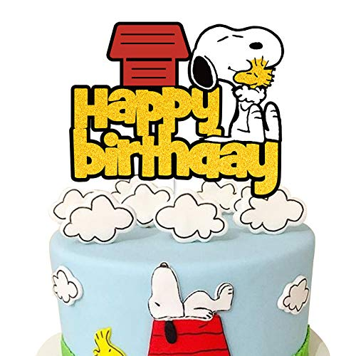 Happy Birthday Cake Topper Cartoon Dog Themed Party Decorations Supplies for Boys Girls
