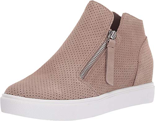 Steve Madden Women's Caliber Wedge Sneaker, Taupe Suede, 7.5 M US