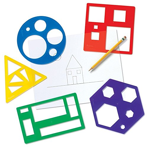 Learning Resources Primary Shapes Template Set, Geometric Shapes, Tracing Helper, Ages 4+