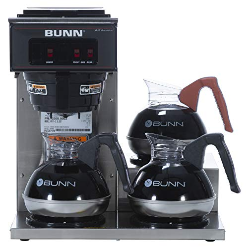 BUNN 13300.0003 VP17-3SS3L Pourover Commercial Coffee Brewer with 3 Lower Warmers, Stainless Steel (120V/60/1PH)