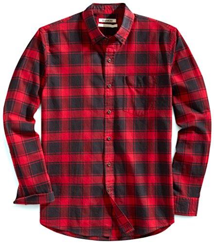 Amazon Brand - Goodthreads Men's Standard-Fit Long-Sleeve Plaid Oxford Shirt, Red Chili, Medium