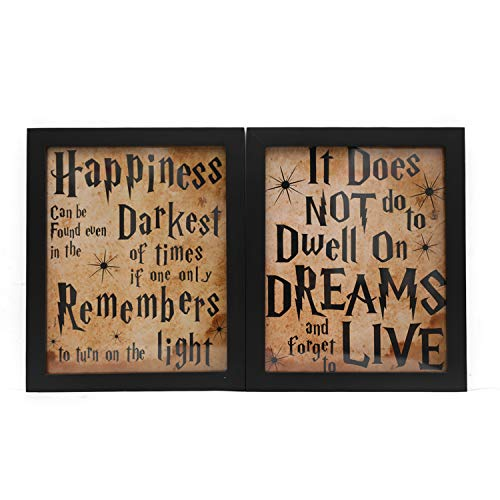 8' x 10' Happiness Can Be Found in the Darkest of Times Wood Motivational Framed Wall Art with Inspirational Quotes and Sayings - Vintage Wall Decor for Home Office - Set of 2