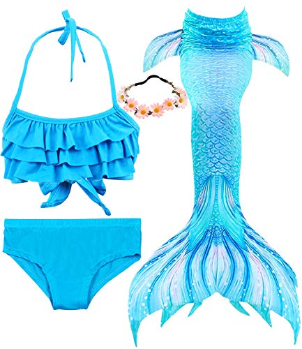 Garlagy 3 Pcs Girls Swimsuit Mermaid Tails for Swimming Bikini Set Bathing Suit Swimmable Can Add Monofin for 3-14Y (7-8/Ht:47-50in(tag 130), A-a Blue Ruffle)