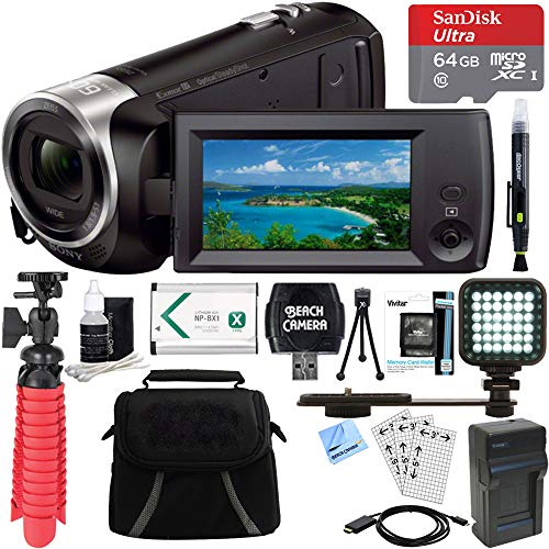 Sony HDR-CX405/B Full HD 60p Camcorder + 64GB Ultra MicroSDXC UHS-I Memory Card + NP-BX1 Battery Pack + Case + Camera Maintenance Accessory Bundle