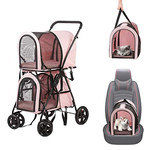 LUCKYERMORE 3-in-1 Double Pet Stroller + 2 Pet Carrier Bags + 2 Car Seat Folding Detachable Jogger Travel Carriage for Dogs Cats, All in one