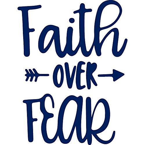 Faith Over Fear Arrow (Navy Blue) (Pack of 2) Premium Vinyl Decals Sticker - Car Bumper Wall Mac Laptop Tumbler Truck Helmet Bike Window Skateboard Yeti - Men Women Kids Teen Mr Mrs