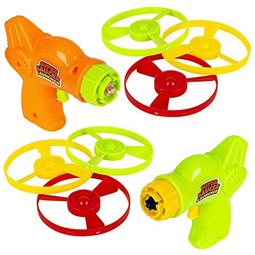ArtCreativity Super Saucer Disc Launcher Toys, Set of 6, Disk Shooter Sets with 1 Flying Saucer Gun and 3 Spinning Disks Each, Super Fun Outdoor Flying Toys for Kids, Great Birthday Party Favors