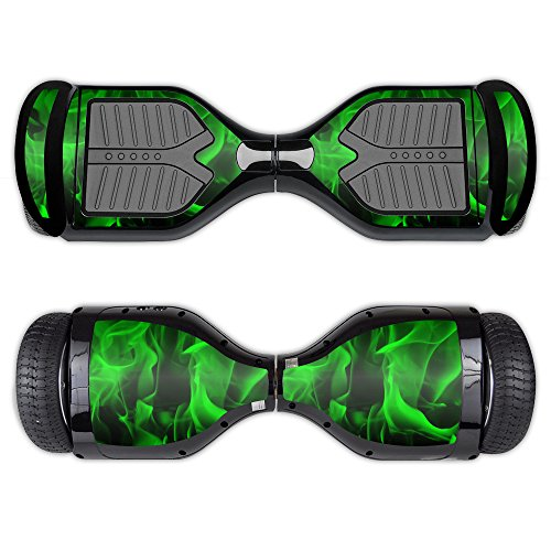 MightySkins Skin Compatible with Swagtron T1 - Green Flames | Protective, Durable, and Unique Vinyl Decal wrap Cover | Easy to Apply, Remove, and Change Styles | Made in The USA