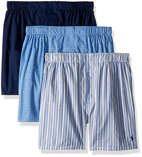 Polo Ralph Lauren Classic Fit 3 Packaged Woven Boxers Rimini Stripe/Muller Plaid/Cruise Navy MD