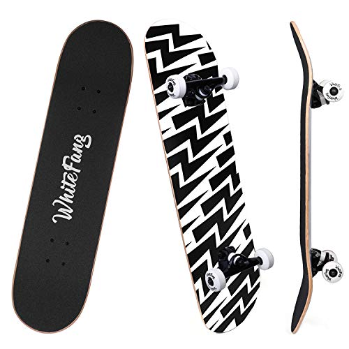 WhiteFang Skateboards for Beginners, Complete Skateboard 31 x 7.88, 7 Layer Canadian Maple Double Kick Concave Standard and Tricks Skateboards for Kids and Beginners (Lighting)