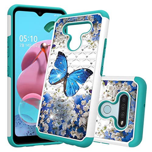 AIYZE for LG K51 Phone Case, Compatible with LG Q51 and LG Reflect, LG K51 Case, Glitter Bling Jewelry Cute Girls Women Dual Layer Heavy Duty Hybrid Cover 2020 (Blue Butterfly)