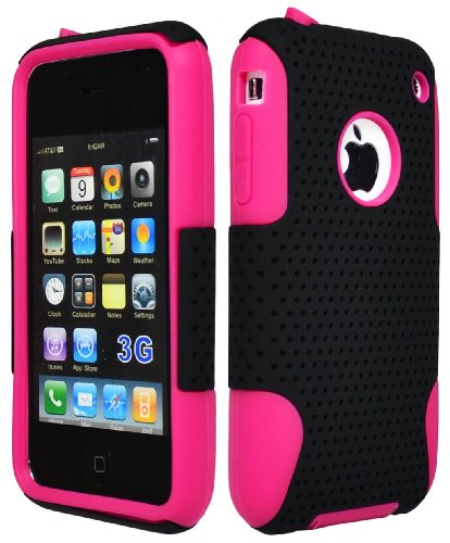 Bastex BasTexWireless Hybrid 2 Piece Hot Pink/Black Mesh Plastic Silicone Case for Apple Iphone 3g 3gs