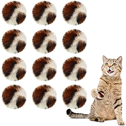 12 Pieces Large Soft Faux Fur Ball Cat Toys Patch Puff Plush Pom Cat Toys Balls with Catnip for Cats Kittens, 2 Inches (Tiger)