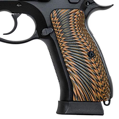 Guuun G10 CZ Grips for CZ 75 Full Size SP-01, Sunburst Texture - Orange/Black