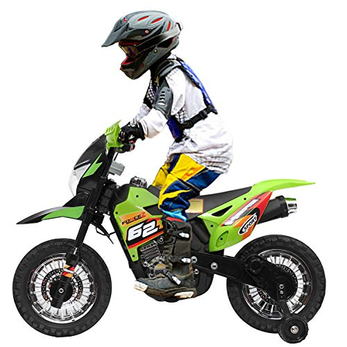 JAXPETY 6V Electric Motorcycle, Battery Powered Dirt Bikes for Kids 3-6, Ride-on Mini Motorbike with Training Wheels, Headlights and MP3, Green