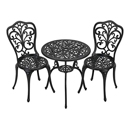 Laurel Canyon 3-Piece Cast Aluminum Outdoor Furniture Patio Bistro Sets with Antique Copper Finish with Small Round Table and 2 Chairs for Porch, Lawn, Garden, Backyard, Pool, Black