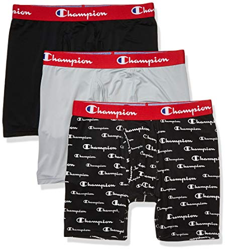 Champion Men's Athletics Everyday Active Boxer Briefs (Pack of 3), Silverstone/Black Allover Script Print/New Ebony, X Large