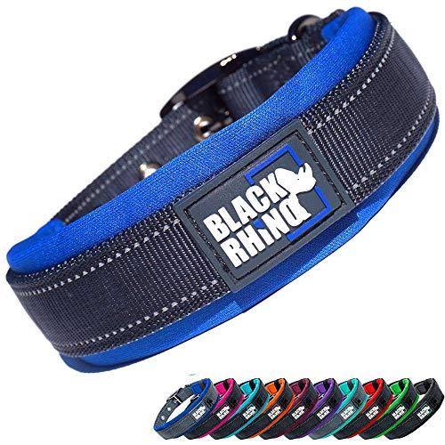 Black Rhino - The Comfort Collar Ultra Soft Neoprene Padded Dog Collar for All Breeds - Heavy Duty Adjustable Reflective Weatherproof (Medium, Blue/Grey)