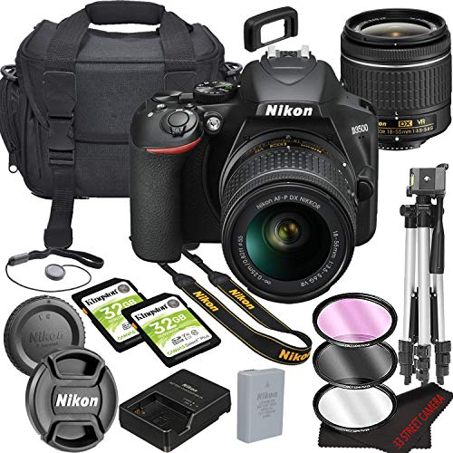 Nikon intl D3500 DSLR Camera Bundle with 18-55mm VR Lens - Built-in Wi-Fi-24.2 MP CMOS Sensor - -EXPEED 4 Image Processor and Full HD Videos64GB Memory(17pcs)