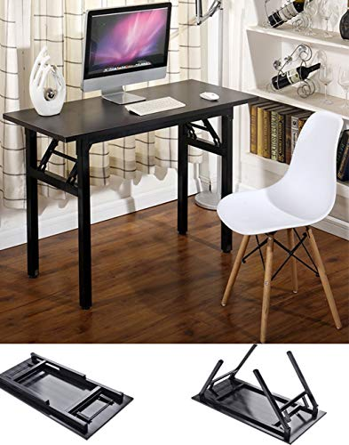 "Writing Computer Desk Office Desk 39.37"" Folding Computer Table Workstation Folding Laptop Table,Home Office Desk, No Assembly Needed, Dark Walnut Color"