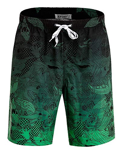 APTRO Men's Swim Trunks Quick Dry 4 Way Stretch Beach Board Shorts HWP023 Green L