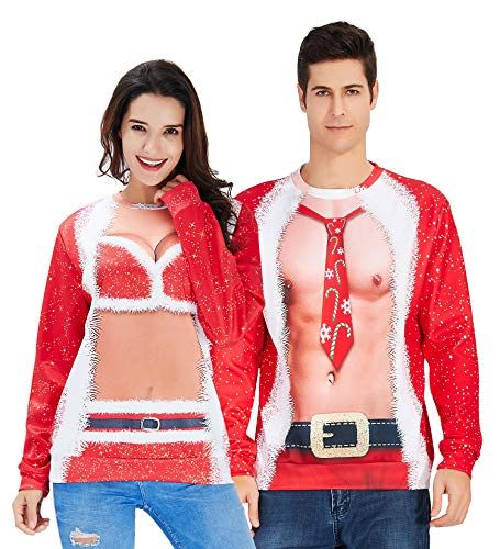 Mens Ugly Christmas Sweater Novelty Muscle Design Long Tops 3D Print Fake 2 Pieces Costume for 80's 90's Bro Boys Xmas Celebration Pullover Sweatshirt Red L
