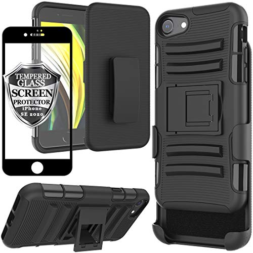 Ailiber iPhone SE Holster Case with Belt Clip, iPhone SE 2020 Screen Protector for iPhone8 iPhone7 iPhone SE2, Kickstand Holder Rugged Heavy Duty Protective Cover for iPhone SE 2nd Generation - Black