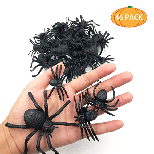 kockuu 46pcs Realistic Spider Toys Fake Spider Prank Prop Joke Toys and Spider Rings for April Fool's Day Gift Party Favors and Decorations