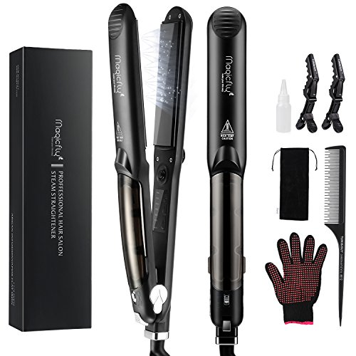 Steam Flat Iron Hair Straightener, Magicfly Professional Ceramic Tourmaline Flat Curling Iron with Vapor Heat up Fast for straightening & Curling Hair