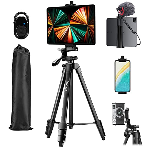 Tripod, Lusweimi 60-Inch Camera Tripod for iPad pro & iPhone Compatible with Tablet/iPad Pro 12.9 inch/Webcam/Video Camera, iPad Pro Tripod Stand with Bluetooth Remote & Bag for Vlog/Video/Photography
